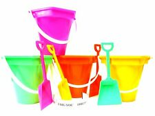 4 Small Sand Buckets, Shovels I Dig You Stickers Mfg USA Lead Free 1 ea Color