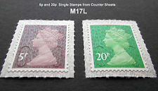 2017 M17L 5p and 20p Machin SINGLE STAMPS from Counter Sheets