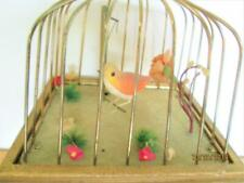 Vintage Swinging Bird In A Cage 2 Drawer Wooden Musical Jewelry Trinket Box