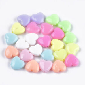 100+ Opaque Acrylic Mix Pastel Color Heart Beads Charms Fun Kids Crafts 10x12mm
