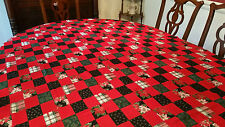 Christmas Tablecloth Country Kitchen Look Patchwork Design 56x79 Gently Used