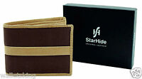 GENTS LUXURY BROWN REAL LEATHER & CANVAS SLIM WALLET GIFT BOXED BY STARHIDE 1214