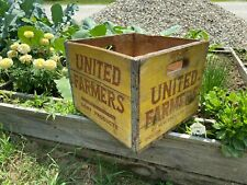 Vintage 1957 Boston United Farmers Dairy Market Wood Crate Box Rustic Country
