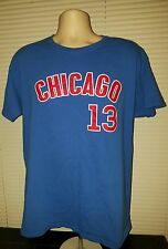 Starlin Castro #13 Chicago Cubs Blue Jersey-style T-Shirt Size L