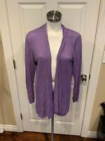Eileen Fisher Light Purple Linen Open Front Cardigan Sweater, Size Medium