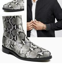 New Mens Chic Leather Ankle Boots Shoes Snakeskin Print Casual Fashion Boots