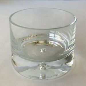 """Abigails Heavy Glass or Crystal Cylinder Bowl or Vase with Engraved Bee 4 x 5.5"""""""