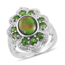 Canadian Ammolite Russian Diopside White Topaz Sterling Silver ring size 8