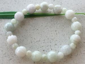Certified Natural A Grade 10mm Jadeite Carving Lotus beads Women Bracelet 0767