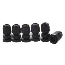 6 Pcs Black Plastic Waterproof Connectors PG7 Cable Glands