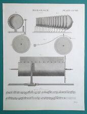 HOROLOGY Musical Clocks - 1817 Antique Print