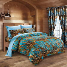 SEA BREEZE CAMO COMFORTER 7 PC POWDER BLUE SHEET SET KING CAMOUFLAGE WESTERN
