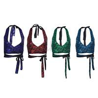 Women Halter Neck Mermaid Crop Top Ladies Tie Up Back Bralet Strappy Vest Tank