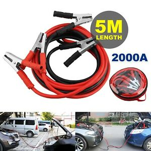 2000AMP/5M Jump Leads Car Van Booster Cables Starter Clamp Heavy Duty and Gloves
