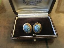 ANTIQUE  FULLY  HALLMARKED 18ct 750 OVAL TURQUOISE  EARRINGS Clip On 7.1 Grams