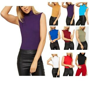 Women's Polo Turtle Neck T-Shirt Plain Stretch Sleeveless Bodycon Vest Tee Top