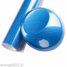 Blue 60X152cm 5D Ultra Shiny Gloss Glossy Carbon Fiber Vinyl Wrap Sticker Decal
