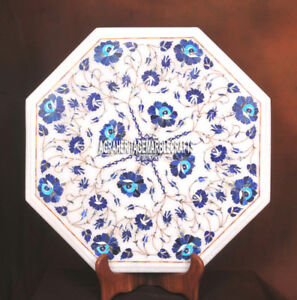 Marble Table Top Lapis Edelstein Inlay Semi Precious Halloween Garten Deko H3742