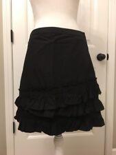 New J Crew Ruffle Skirt in Cotton-poplin Black Sz 4 H6130