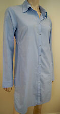 PINKO Blue & White Striped Cotton Blend Long Sleeve Short Mini Shirt Dress GB10