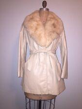 Vintage 60's 70's Belted LeatherJacket Coat Cream Ivory Beige Fur Collar S