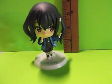 "#A40 K-On! Anime 3.5""in Black Twin Tail Big Head Figure in Cool Blue Jacket"