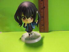 "#A40 K-On! Anime 3.5""in Black Twin Tail Big Head Figure in Cool Blue Jacket"