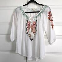 SPADE & HEART Womens White Embroidered Boho Hippie Tunic Top Tassels 3/4 Sleeve
