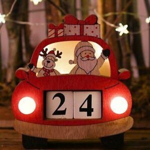 Advent Calendars Christmas Decoration Santa Claus Wooden Creative Light Ornament