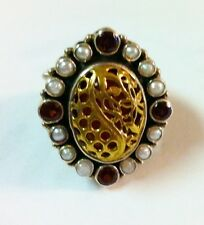 LARGE STERLING SILVER W/ GOLD OVERLAY PEARL AND GARNETS