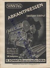 GERA, Werbung 1939, R. Sonntag GmbH Maschinen-Fabrik Abkantpressen