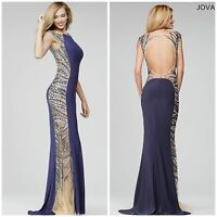 NWT JOVANI 25183 GREY OPEN BACK BEADED JERSEY GOWN PROM/PAGENT $598 sz 2,4,6