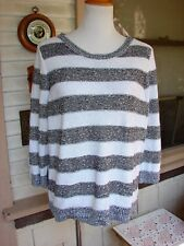 NUBBLY CRISP COTTON SWEATER TUNIC BLACK/WHITE STRIPED CROFT & BARROW XL