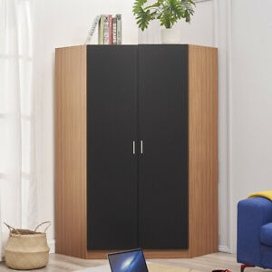 2 Door Double Corner Wardrobe Cupboard Hanging Rail + Shelf Bedroom Storage