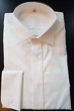 Smokinghemd Comfort Fit, weiße Mako-Baumwolle, viele Größen, Einstecktuch gratis