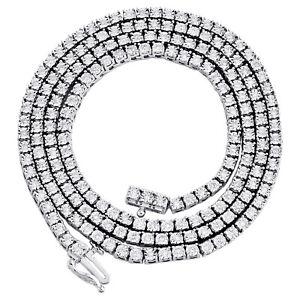 "10K White Gold 1 Row Diamond Tennis 3mm Choker Link Chain 22"" Necklace 1.33 CT."