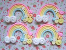 4 x Rainbow Stars Clouds Polymer Clay Cabochon Flatback Scrapbooking Craft DIY