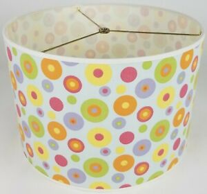 """NEW Drum Lamp Shade 15"""" Dia 10"""" H Contemporary Dots Blue Green Red Kids Fabric"""