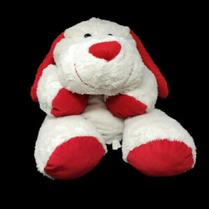 """Huge Floppy Valentine Puppy Dog Plush White with Red Ears and Tail 36"""""""