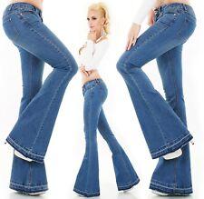 Damen Bootcut Jeans Schlaghose Hose extrem weiter Schlag Flarecut blue Denim