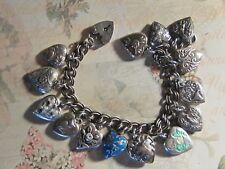Vintage Sterling silver charm bracelet-14  puffy heart charms