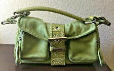 Green Suede and Faux Alligator Purse Baguette Handbag w/ Silver Hardware