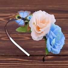 Serre-tête fleurs couronne papillon ivoire bleu vert bijou pour Cheveux Mariage