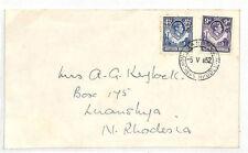 DD309 1952 Northern Rhodesia KGVI 1s3.5d Franking Luanshya {samwells-covers}
