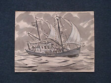 John Day RI Artist Art Painting Fishing Boat Aquarius Signed Listed 01444