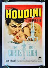 HOUDINI * CineMasterpieces ORIGINAL MOVIE POSTER 1953 TONY CURTIS JANET LEIGH