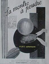 PUBLICITE LA MONTRE POUDRE POUDRIER EXTRA PLATE HOUPETTE MONTRAL DE 1929 AD PUB