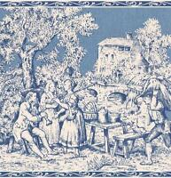 Wallpaper Border Wallpaper French Country Life Toile Blue Eggshell White