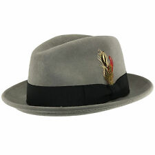 Crushable C-Crown 100% Wool Felt Fedora Trilby Hat With Removable Feather