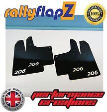 Rally style Mudflaps PEUGEOT 206 Mud Flaps rallyflapZ(3mm PVC) Black Logo Silver